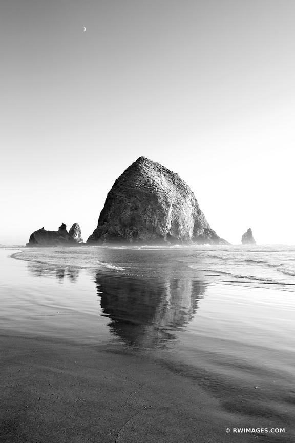 HAYSTACK ROCK CANNON BEACH OREGON COAST BLACK AND WHITE VERTICAL