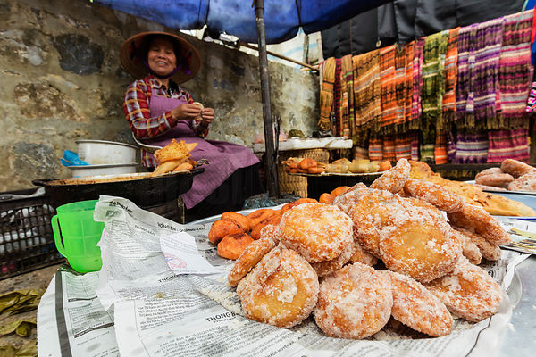Flower Hmong Woman Cooking Deep Fried Donuts