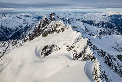 Aerial view of Tantalus Range near Squamish, BC, Canada.