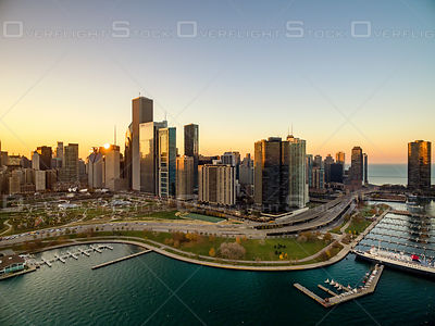 Lakeshore and Skyline of Chicago Illinois USA