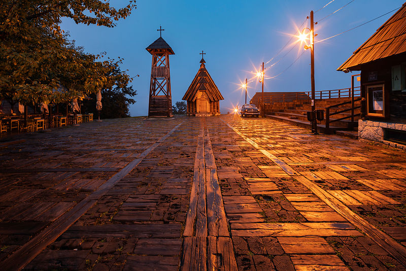Drvengrad Wooden Church at Dawn