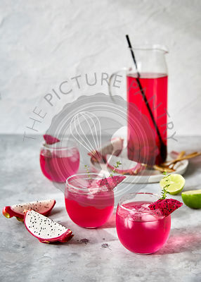 Refreshing tropical dragon fruit shrub drink. with lime and thyme.