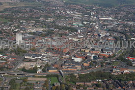 Oldham aerial photograph of the Oldham Way ring road looking from west to east and showing the town centre