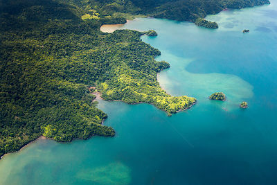 Aerial view of the Osa Peninsula coastline, Costa Rica.
