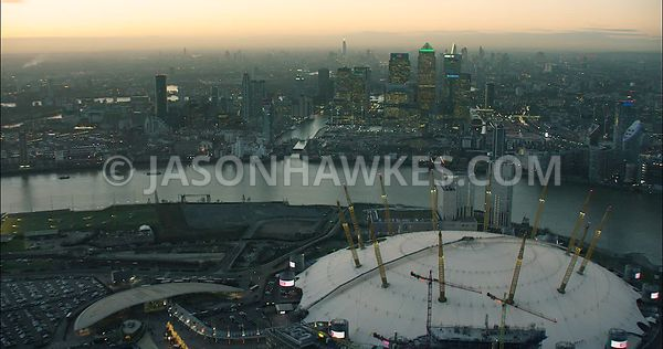 London Aerial Footage of O2 Arena.