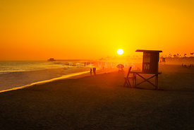 Newport Beach Lifeguard Tower M Sunset Photo