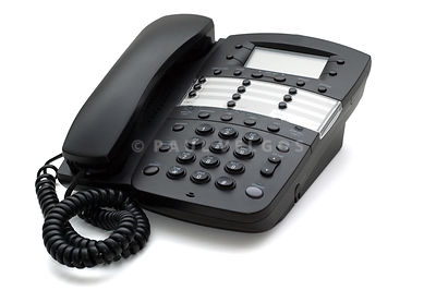 Black Office Phone on Isolated White Background