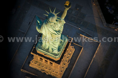 Aerial view of the Statue of Liberty, New York