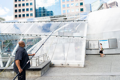 Washing the Skylight at the Gateway Center T Station