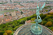 Statue of Saint Michel above Fourviere basilica, Lyon, France