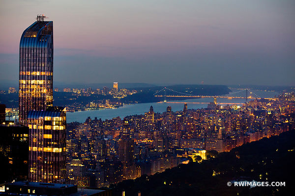 CENTRAL PARK MANHATTAN NEW YORK CITY AERIAL NIGHT VIEW COLOR