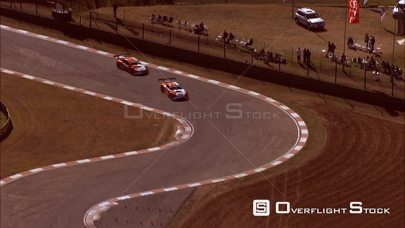 Aerial of cars racing around Kyalami Race Track. Gauteng South Africa