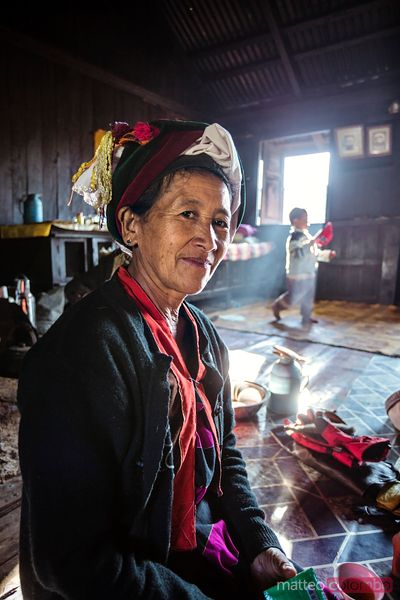 Portrait of asia woman in her house, Shan state, Myanmar