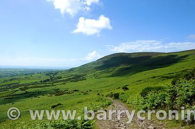 15th June, 2009. The view of 'Barnavave' mountain as seen from  Slieve Foye (Elevation 589 metres) as part of The Tain Way, C...
