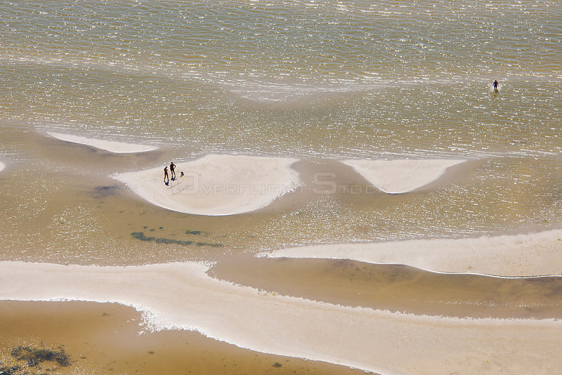 Aerial view of people on sandy beach of the Baltic Sea, Parnu, Estonia. July.