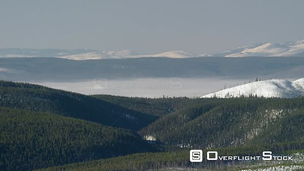 Northern forests of Yellowstone National Park, with low clouds