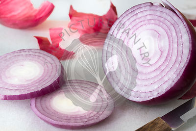 A sliced red onion.