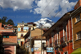 View of Mt Illampu from main square, Sorata, Bolivia