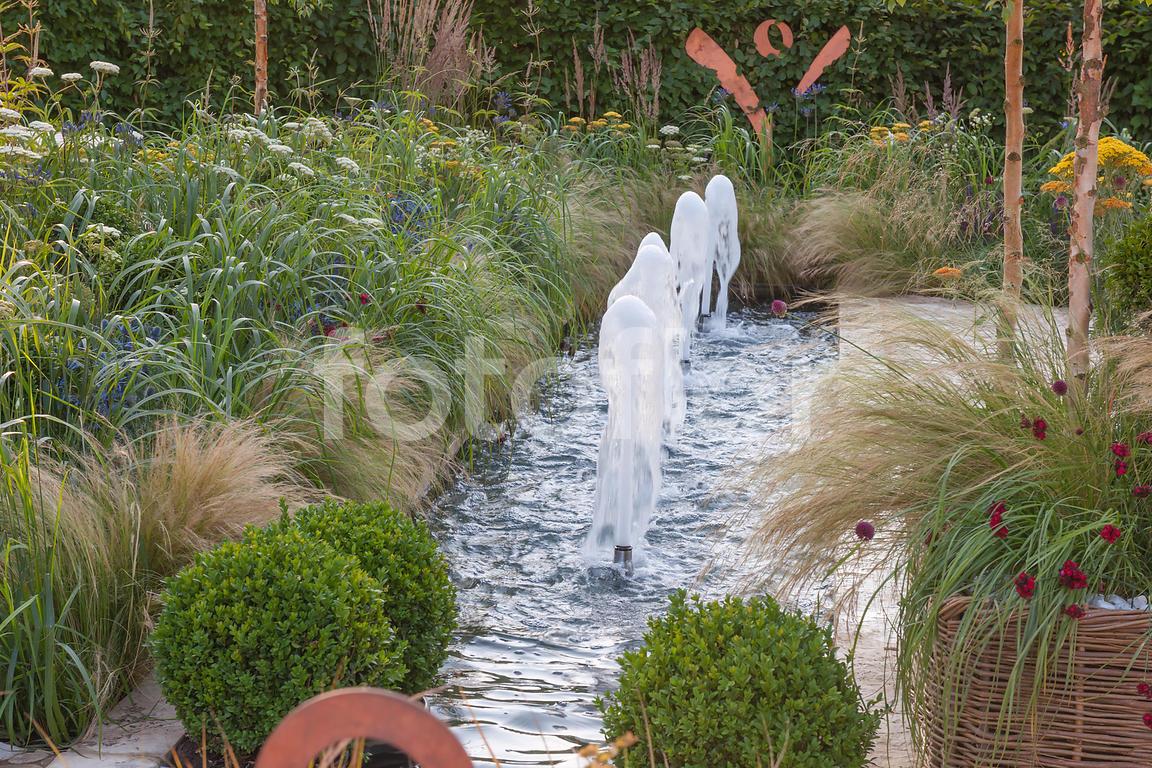 Les Plus Belles Graminées photo de jardin avec fontaine canal et graminées,mélange