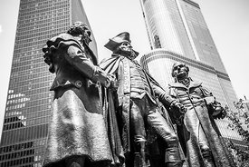 Chicago Washington Morris Salomon Statue Black and White Picture