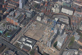 Circle Square, former BBC site, and construction of new Apartments Princes Street Manchester