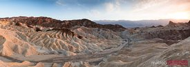 Panoramic of Zabriskie point at sunset, Death valley, USA