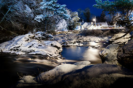 Falls of Dochart at night