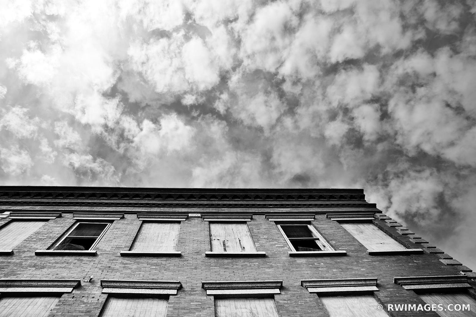 ABANDONED BUILDING GALVESTON TEXAS BLACK AND WHITE