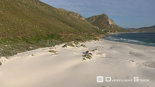 Aerial over a beach alongside Chapman's Peak Drive in Cape Town. Cape Town Western Cape South Africa