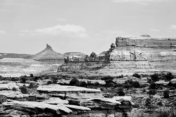 THE NEEDLES CANYONLANDS NATIONAL PARK UTAH BLACK AND WHITE