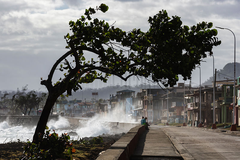 Waves Crashing Against the Malecon on a Blustery Day