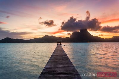 Jetty at sunset, Bora Bora, French Polynesia