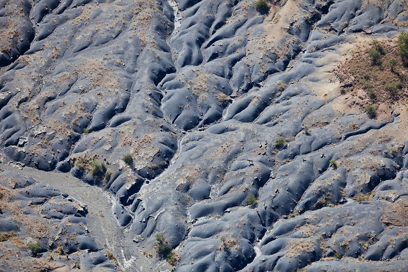 Aerial photo of hillside gully erosion, KwaZulu Natal, South Africa, June 2010