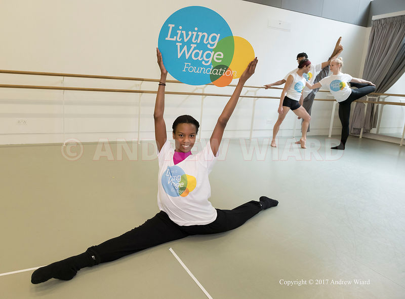 England, UK . 6.3.2017. London . Dancers from Rambert celebrate the dance company becoming the three thousandth Living Wage e...