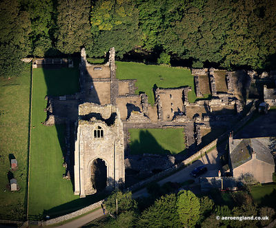 aerial photograph of Shap Abbey in the Lake District  Cumbria England UK