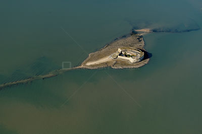 Aerial view of Fort Enet near Ile d'Aix and Fort Boyard, Charente-Maritime, France, July 2017.