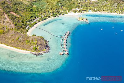 Aerial view of overwater bungalows, Malolo island, Fiji