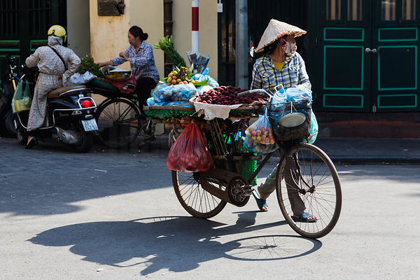 Fruit Seller with her Bicycle in Old Hanoi
