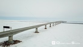 Prince Edward Island Canada Confederation Bridge New Brunswick Winter Ice Drone