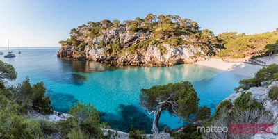Panoramic of beach at sunrise, Cala Macarelleta