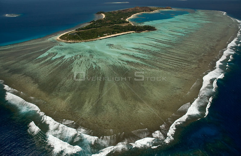 Aerial view of fringing reef off a Fiji island, Melanesia, Pacific, September 2007