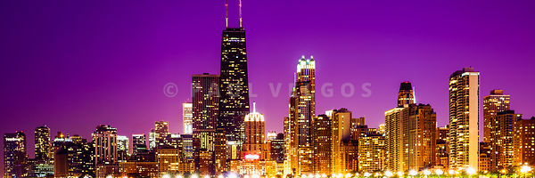 Purple Chicago Skyline at Night Panorama Photo