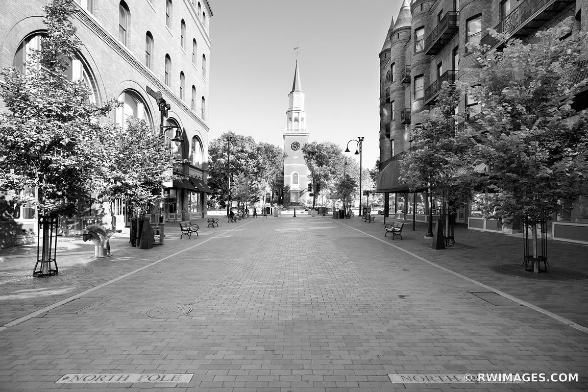 CHURCH STREET BURLINGTON VERMONT BLACK AND WHITE