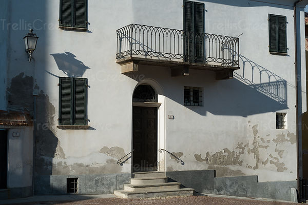 Whitewashed home in La Morra, Italy.
