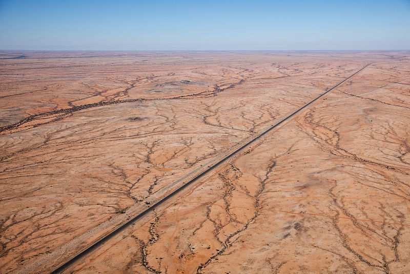 Aerial view of the N14 road running through Northern Cape, South Africa, January 2011