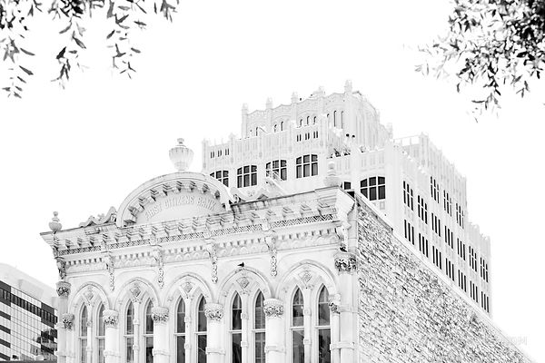 HISTORIC AUSTIN DOWNTOWN ARCHITECTURE BLACK AND WHITE
