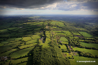 aerial photograph of Congleton Edge Cheshire looking towards Mow Cop Staffordshire