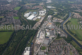 Manchester high level view of Langley road south Industrial Estates with Agecroft industrial estate in background