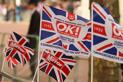 Union Jack Flags as Crowds Prepare to see The Queen