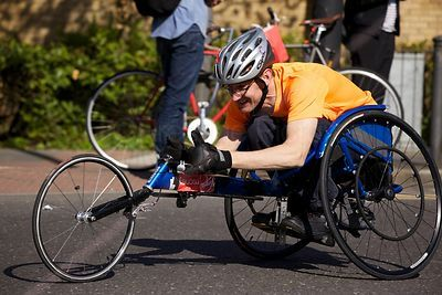 Racer number 65 in The Men's Wheelchair Event at the 2014 London Marathon